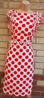 PER UNA RED WHITE POLKA DOT SPOTTED FRILL BELTED LINEN BODYCON DOLLY DRESS 10 S