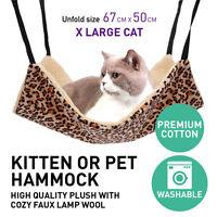 Cat Hammock X LARGE 67cm X 50cm Leopard Fur Bed Hanging Cat Kitten Cage Ferret