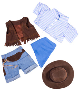 """8"""" BLUE COWBOY COW BEAR & HAT TEDDY CLOTHES FITS 8""""-10"""" (20CM) TEDDY BEARS"""