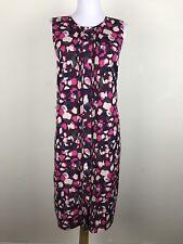Banana Republic Dress Petite Size 12 Sleeveless Shift Floral Maroon Pink Pleated