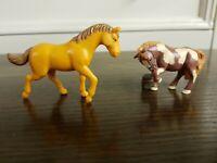 2 Small Plastic Toy Horses