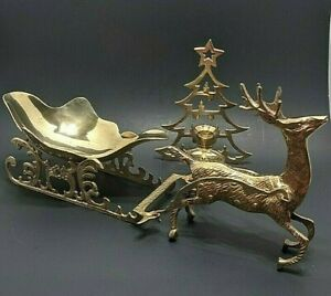 """Brass Christmas Sleigh Deer & Tree Candle Holder Holiday Decoration 17"""""""
