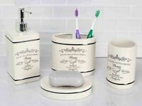 Home Basics NEW Paris Collection 4 Piece Bathroom Accessory Set - BA41266