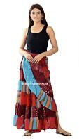 Indian Vintage Seide Sari Recycled Umwickeln Rock Regenschirm Stil Damen Rock