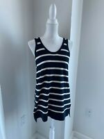 Vince Navy Blue & Cream Stripe Cotton Sleeveless Tunic Long Tank SZ S