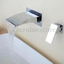 Wall Mount Mixer Tap Wide Bathtub Mono Curved Waterfall Bath Spout Filler Faucet