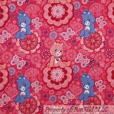 BonEful Fabric FQ Cotton Quilt Pink Purple White Flower CARE BEAR Butterfly Girl
