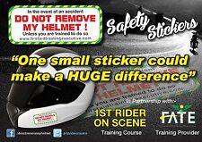 Crash Helmet Safety Stickers    DO NOT REMOVE MY HELMET