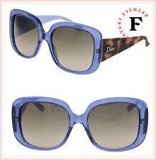 6405cb2374602 Christian Dior Lady1 Oversized Square Matte Havana Blue Lady Sunglasses  Cannage