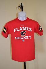 NEW MENDED- NHL CALGARY FLAMES youth MEDIUM M (10/12) red REEBOK shirt 73FR