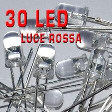 30 diodi LED 3mm trasparenti colore ROSSO ad ALTA LUMINOSITA'+30 resistenze