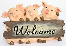Triple Pigs With Welcome Sign Cheeky Pigs Chilling out PORKY PIGGY SO CUTE 26CM