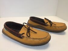LL Bean Women's Pebbled Leather Flannel Lined Moccasin Slippers Size 9 M