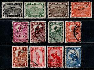 Peru Scott 305, 307-309, 312-313, 315-320 El Misti, Bolivar & Pizarro Used