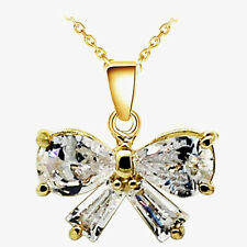 Luxury Yellow Gold White Cubic Zircon Bow Knot Pendant Necklace N353