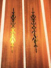 + Rare Mahogany raw wood veneer with inlaid brass feature 17.5� x 3.5�