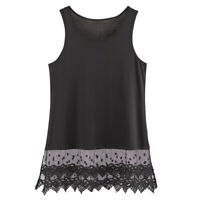 "Women's Lace Trim Layering Tunic Tank Top - Extends Shirt Blouse Length - 30"""