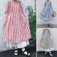 UK Women Long Sleeve O Neck Striped Dress Casual Loose Kaftan Baggy Maxi Dresses