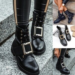 NEW WOMENS SHOES BIKER FLAT LACE UP WORKER ANKLE BOOTS COMBAT ARMY ZIP BUCKLE