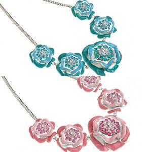 Designer Summer Chic Enamel Floral Roses Statement Necklace w/ Swarovski Crystal