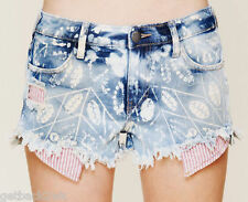 NWT Free People Denim 30 Shorts PANTS Distressed Cut Offs Shibori Blue $88 MSRP