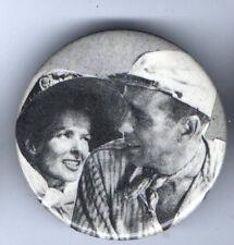 HUMPHREY BOGART pin KATHERINE HEPBURN  old AFRICAN QUEEN pinback button