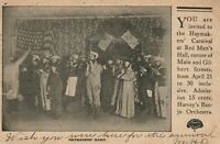 HAYMAKERS BAND RED MEN'S HALL 1906 ANTIQUE POSTCARD