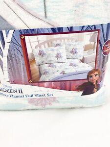 Disney Frozen II Queen Sisters 4 Piece Flannel FULL Size Sheet Set 100% Cotton