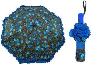 NWT Betsey Johnson Backstage Blue Rose Auto Travel Umbrella w/Ruffles