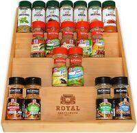 4-Tier Bamboo Spice Rack Organizer for Drawer - Kitchen Drawer Organizer