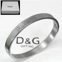 "DG Women's 6.5"" Stainless Steel Roman Numeral,Bangle Bracelet *Box"