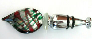 NEW RED and GREEN FEATHER SHAPE WINE BOTTLE TOPPER STOPPER Beautiful GIFT ***NEW