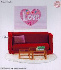 Lundby 60.2081 Smaland Wohnzimmer rot Sofa Tisch Bild 1:18