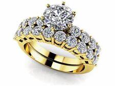 SALE! WEDDING ENGAGEMENT RING Diamond Solitaire Studded Band Bridal Set 14K GOLD