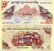 BHUTAN 5 Ngultrum Banknote World Paper Money UNC Currency BILL p28b 2011 Note