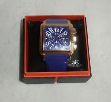 Adee Kaye Mens Watch Chronograph Rose Gold Blue Dial & Strap AK7231-MRG/BU NEW