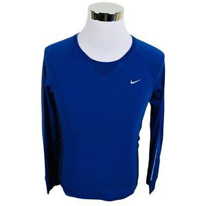 Nike Running Dri-Fit Blue Long Sleeve Pockets T-Shirt Women's Small S Petite