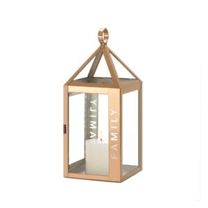 Family Etched Rose Metal Candle Lantern