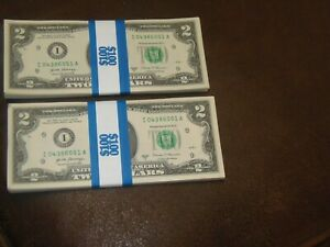 ONE STACK (50) 2017A  MPLS TWO DOLLAR $2 Notes  UNCIRCULATED BEP PACK / BRICK