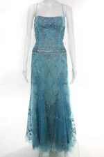 Reem Acra Sky Blue Sequined Design Spaghetti Strap Full Length Ball Gown Size 6
