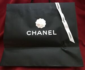 AUTHENTIC VERY LARGE CHANEL GIFT SHOPPING BAG with CAMELIA FLOWER and RIBBON