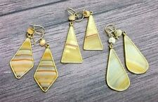 Southwest Style Earrings *3 PAIRS*  Faux Stone Dangle Shapes Ear Rings Hand-Made