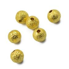 50 Gold Plated Brass Metal Spacer Beads Round 6mm Jewellry Making