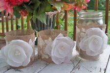 12 Burlap Mason Jar Sleeves, DIY Wedding Decorations, Rustic Wedding ivory