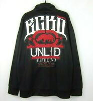 ECKO UNLTD MMA TIL THE END LARGE SPELL OUT LOGO TRACK JACKET SIZE 2XL BLACK