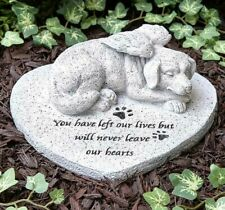 Dog Pet Memorial Cemetery Grave Marker Tomb Stone Paw Prints Statue Garden Stone