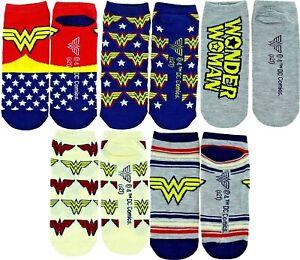 WONDER WOMAN DC COMIC 5-Pack Low Cut No Show Socks Ages 9 & Up (Shoe Sizes 4-10)