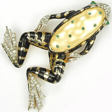 Trifari 'Alfred Philippe' Black Enamel and Pearl Belly Ming Frog Pin Clip