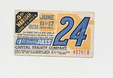 TWO Street Car/Bus pass capital Transit Washington DC--1944 5th War Loan