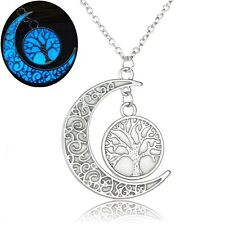 UK GLOW IN THE DARK Tree of Life Moon Pendant Necklace Silver Jewellery Gift